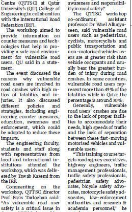 'Safe Urban Design for Vulnerable Road Users' training workshop